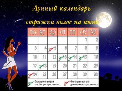 лунный календарь стрижек на июнь 2017 года благоприятные дни