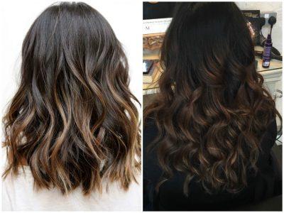 окрашивание волос 2017 фото- новинки на средние волосы для брюнеток