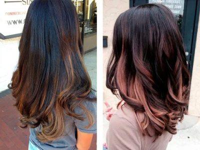 окрашивание балаяж на темные волосы (фото до и после)