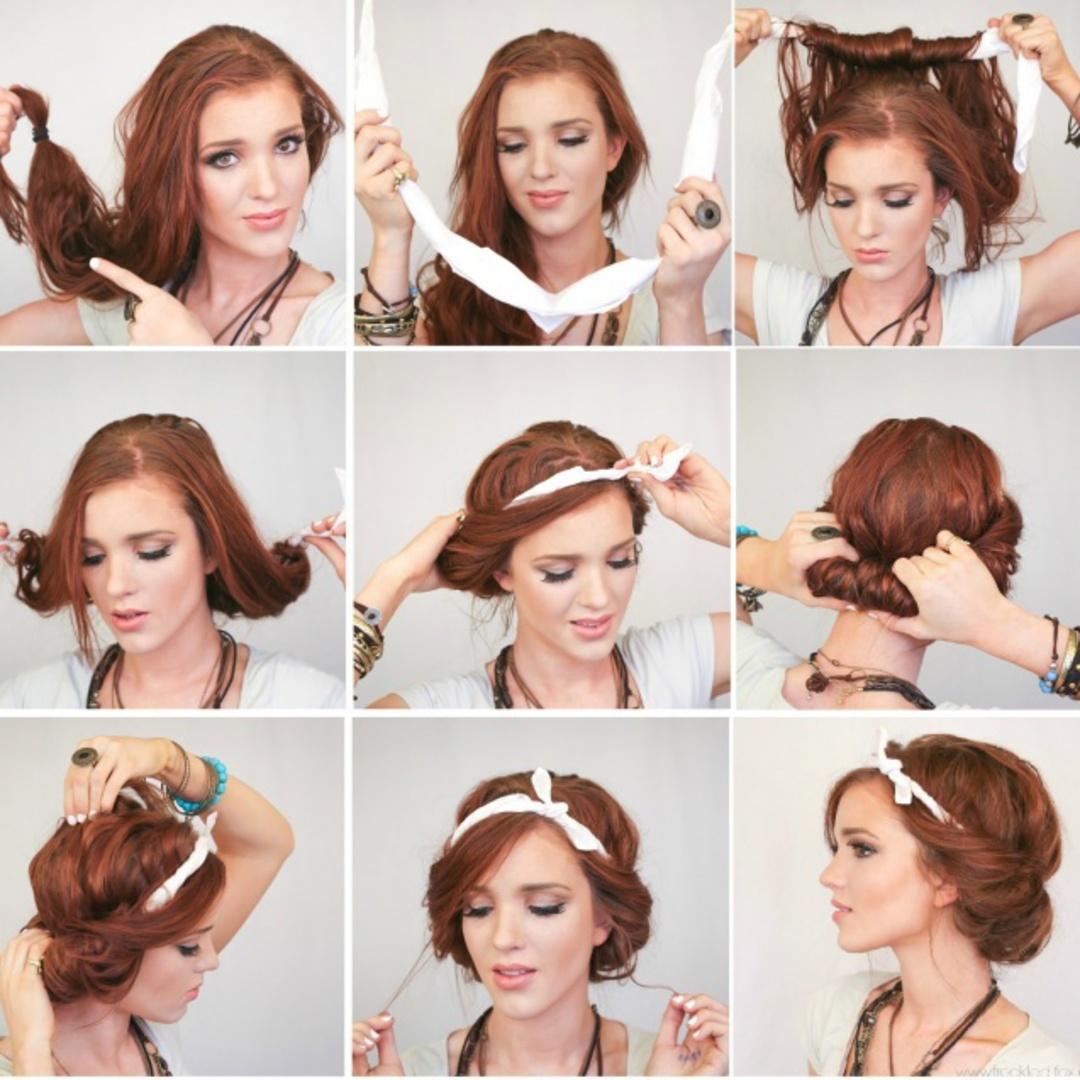 как сделать прическу самому себе на средние волосы (фото пошагово)