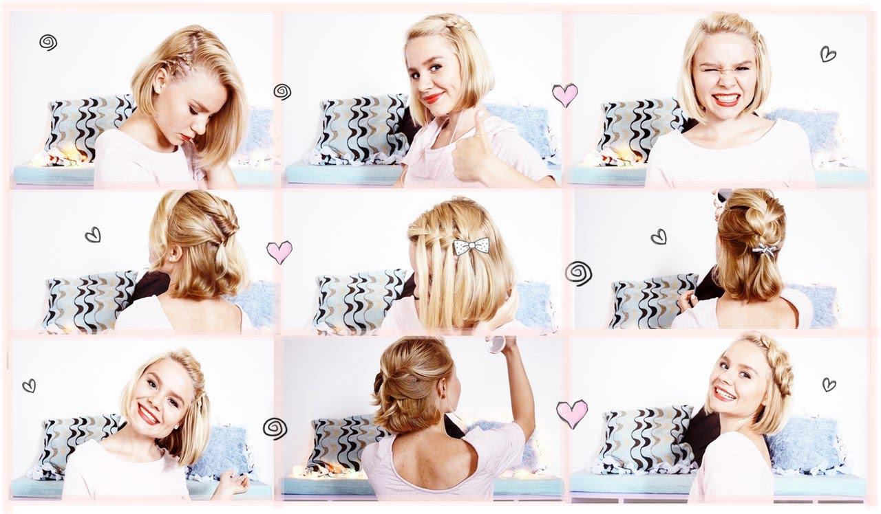 прическа на короткие волосы в домашних условиях фото пошагово